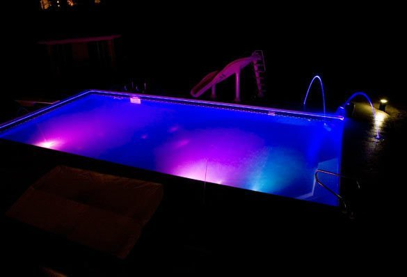 nighttime pool lights