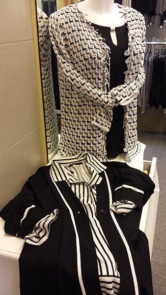 maglietta nera e giacca bianca e nera