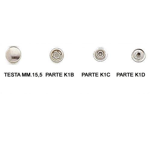 3MK1A2 - Bottone serie kappa completo 4 parti disponibile nei materiali ferro e ottone