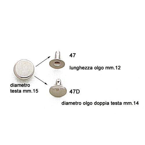 3M47 - Rivetto 047 in ferro disponibile sia normale che doppia testa (art.47D)