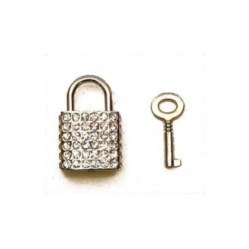 3M24067 - Lucchetto in zama con strass e chiave