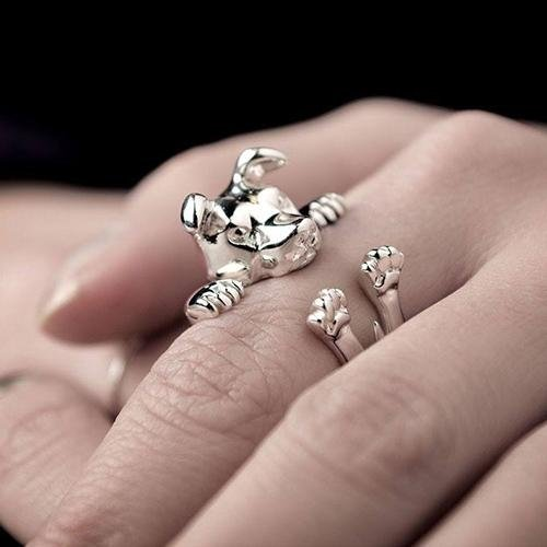 Anello d'argento pug