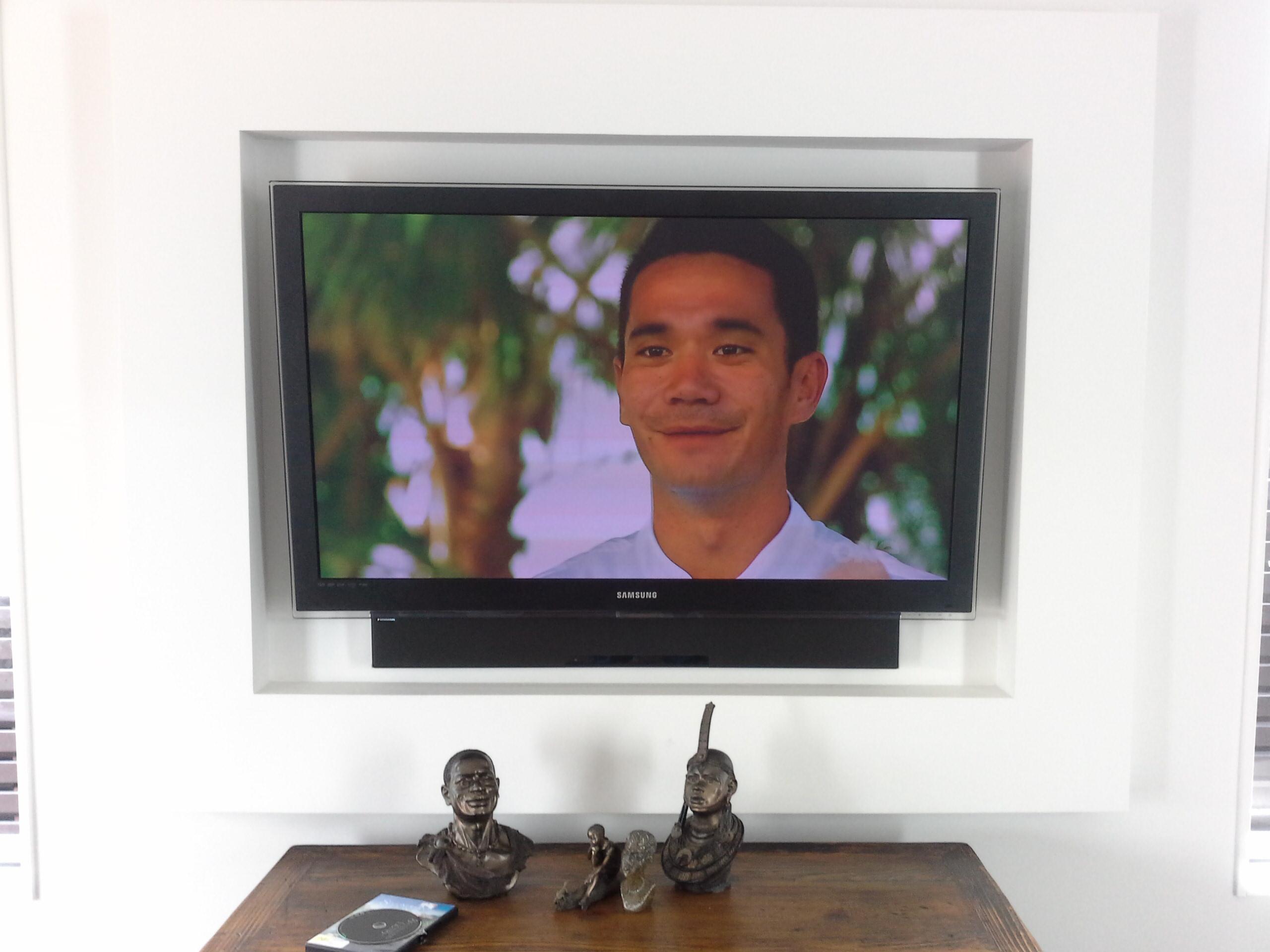 recessed tv with soundbar