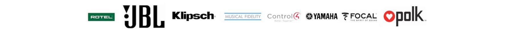 Logo of Rotel, JBL, Klipsch, Musical Fidelity, Control4, Yamaha, Focal, Polk