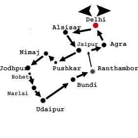 Indien Rundreise Karte Doerfer und Palaeste