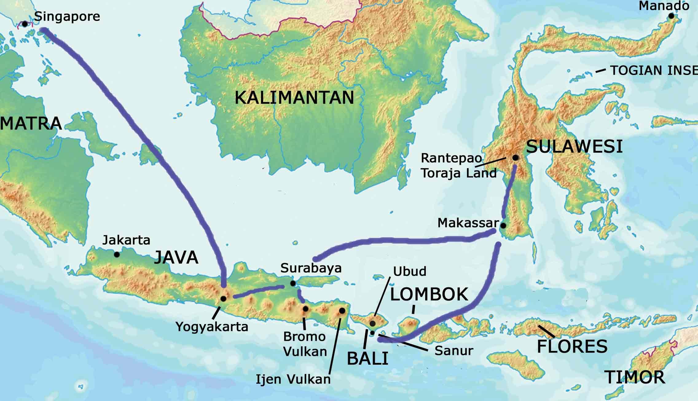 Karte Sinagpore, Java, Sulawesi, Bali