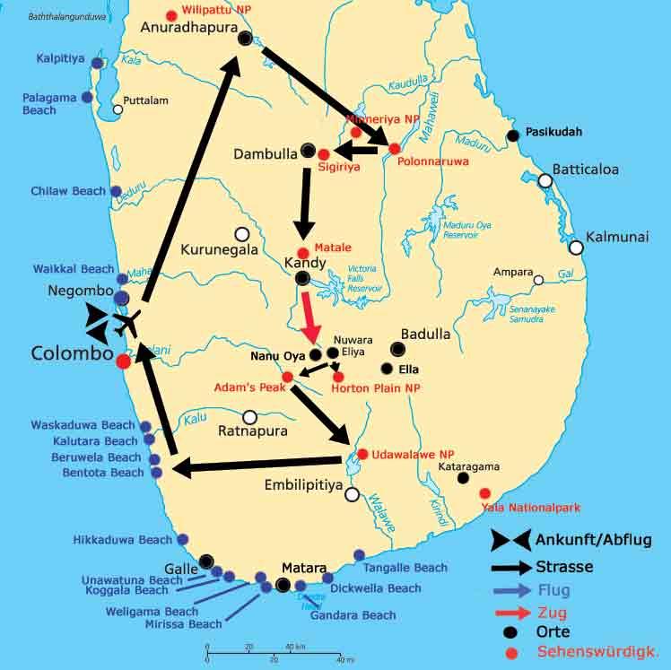 Sri Lanka Karte  MAYA-TRAVELS