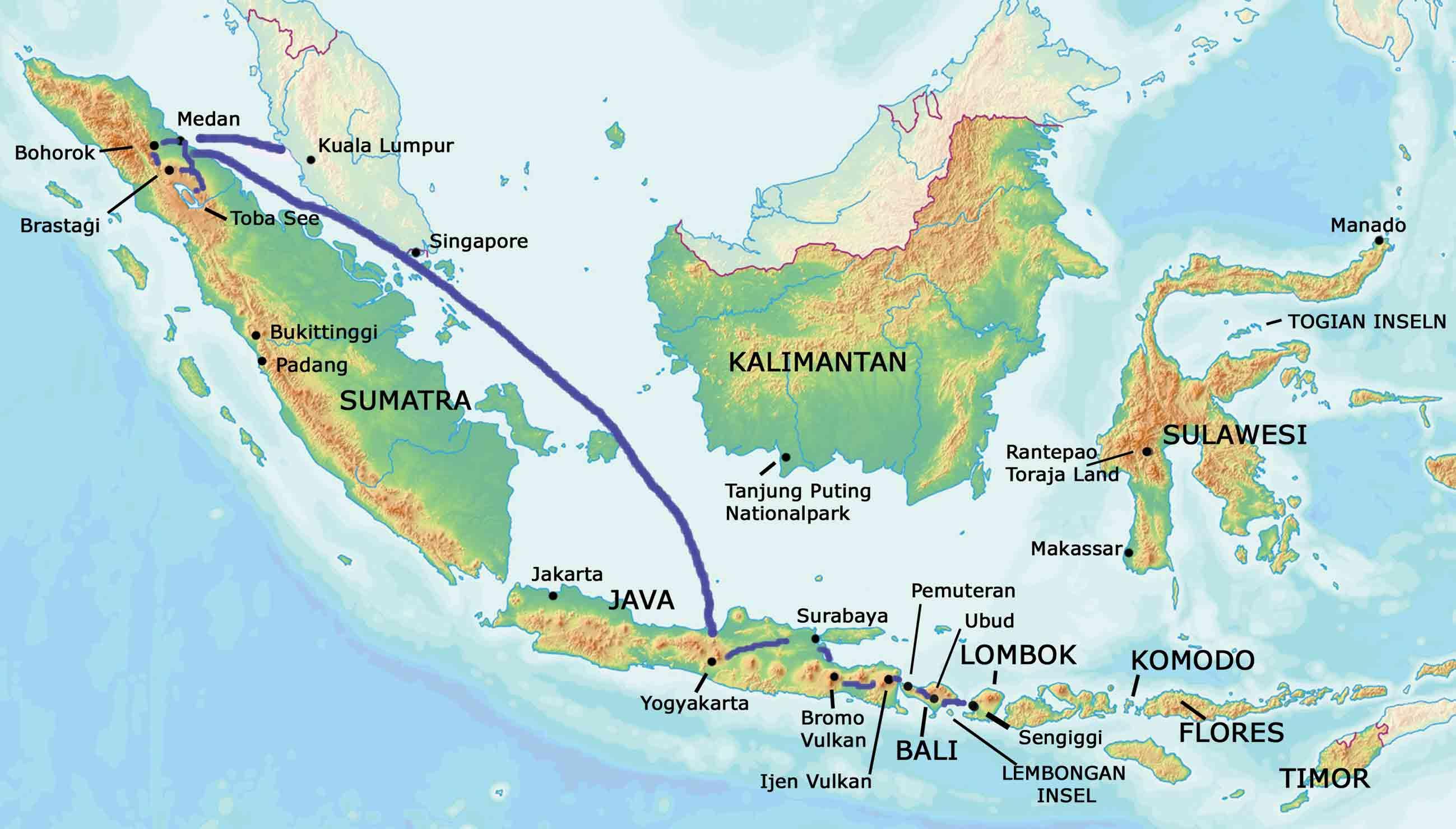 Indonesien Karte Inselkombination Rundreise
