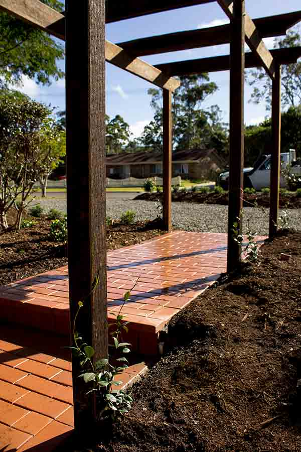 odyssey landscapes brick pathway with trees