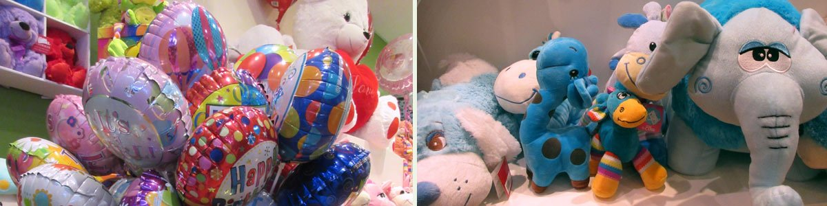 balloons and soft toys