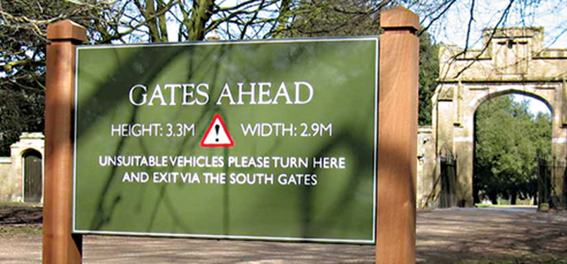 Gates ahead sign