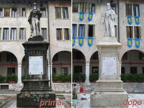 Statua di Panfilo Castaldi prima e dopo