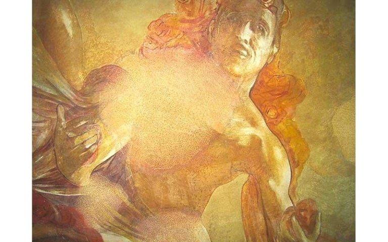 Particolare del dipinto Il trionfo di Apollo dopo il restauro