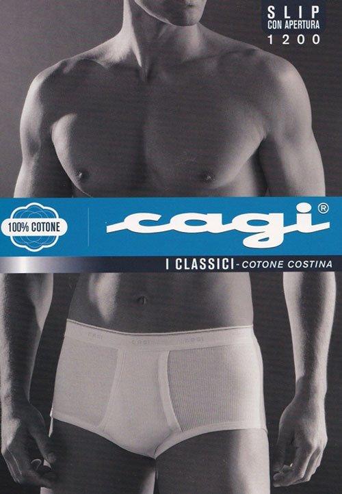 un uomo a petto nudo con delle mutande bianche e una scritta Cagi, i classici cotone costina 100% cotone