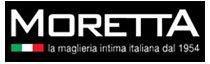 Un logo con scritto Moretta, la maglieria intima italiana dal 1954 in bianco su uno sfondo nero e bandiera italiana