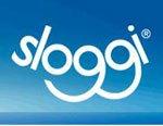 Logo Sloggi in azzurro su uno sfondo blu