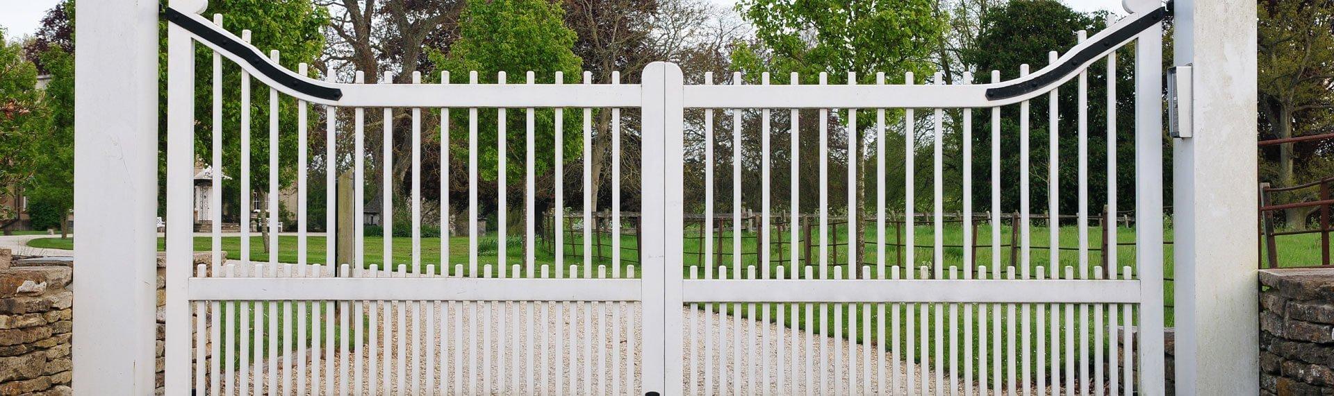 white half panel wood gate