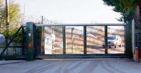 large wide paneled security gates
