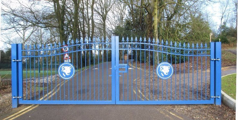 blue metal gates