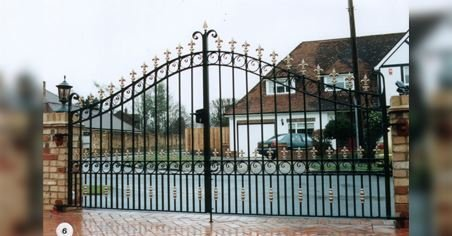 steep curved metal gates