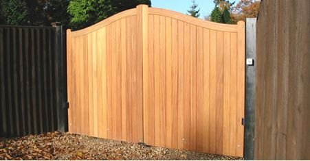 wooden board gate with vertical panels