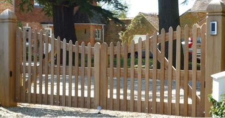 large curved wooden gates