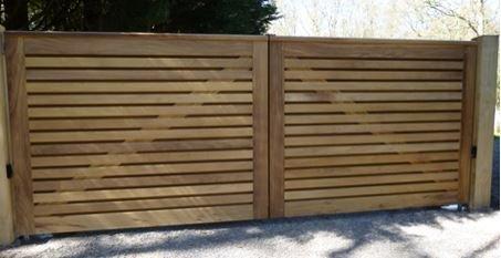 horizontal wooden slat gates