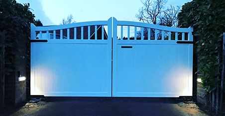 White Wooden Gate, tarmac driveway, letterbox in gate, open top, mostly boarded. Iroko hardwood.