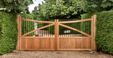 simple wood and metal double gate