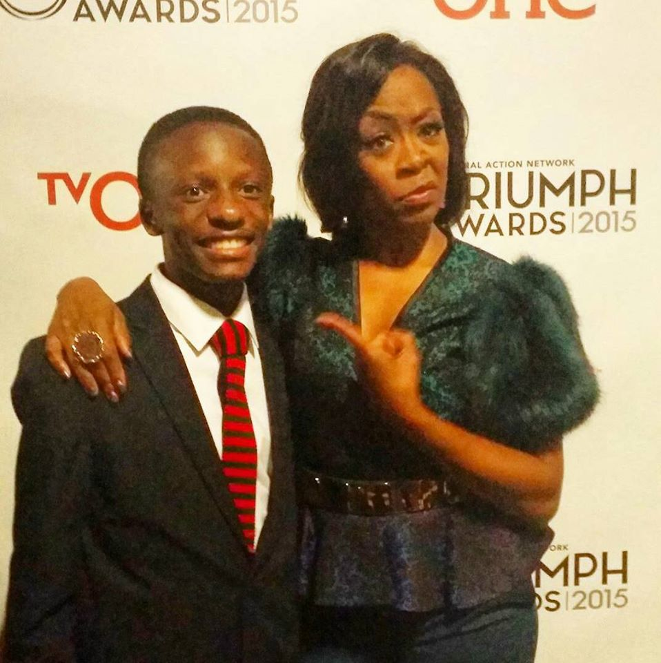 Rev. Jared Sawyer Jr. and Tichina Arnold on the red carpet of the Triumph Awards