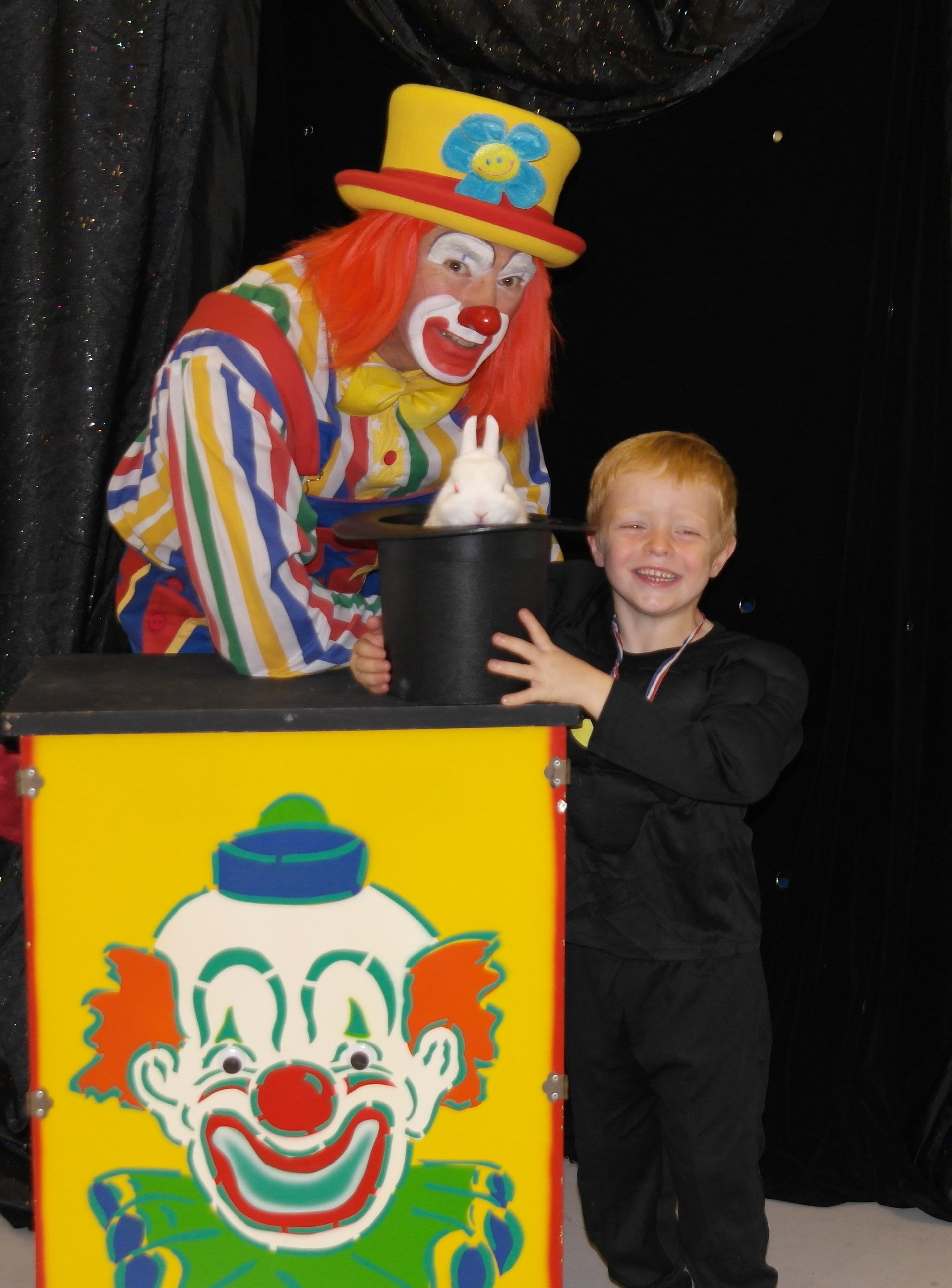 clown with a kid