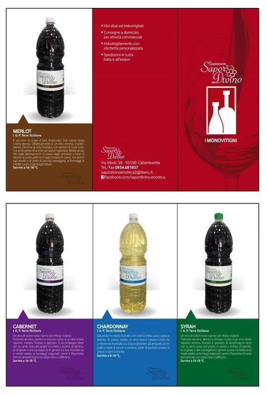 foglio espositivo con vini e bottiglie