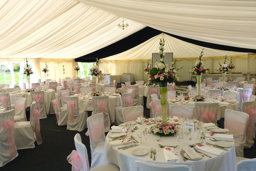 Elegant Wedding Breakfast Table setting in Marquee