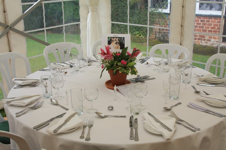 Simple Lunch setting in a marquee