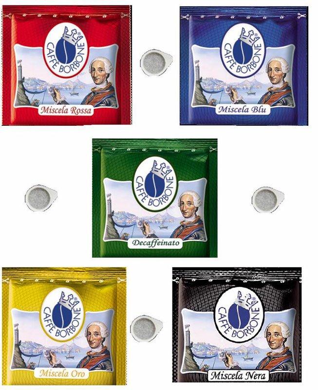 confezioni di cialde di diversi gusti della marca Caffe' Borbone
