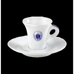 una tazzina bianca con il logo Caffe' Borbone