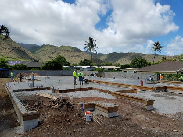 Worker working on a new construction in Hawaii