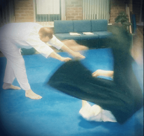 Aikido student practicing a technique for his next grading. Martin Acton's Aikido Institute