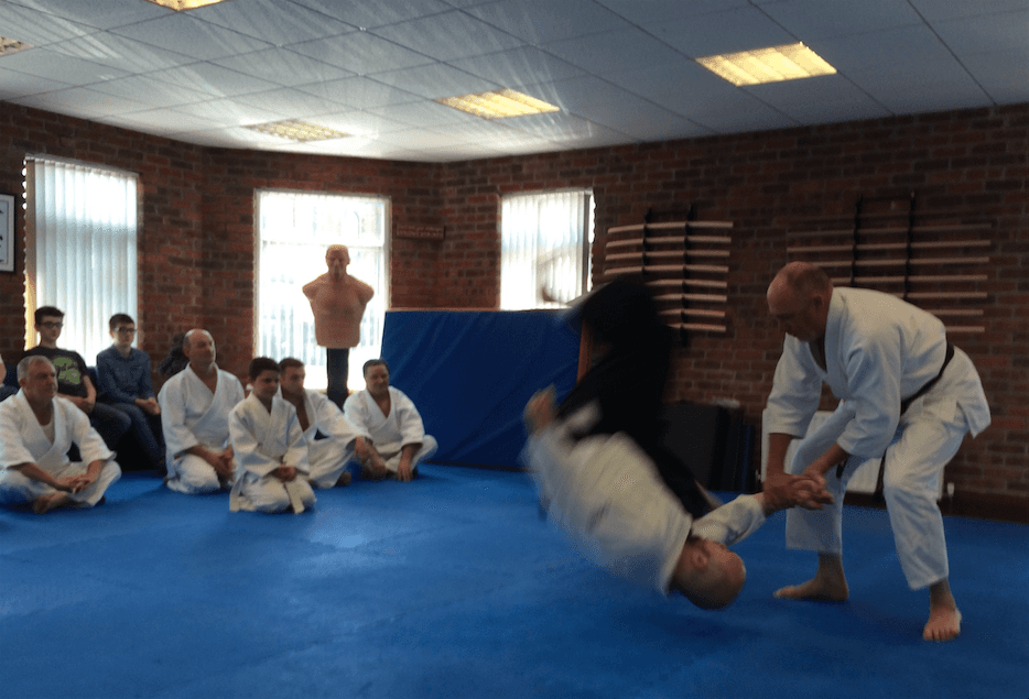 Class of aikido students watching demonstration