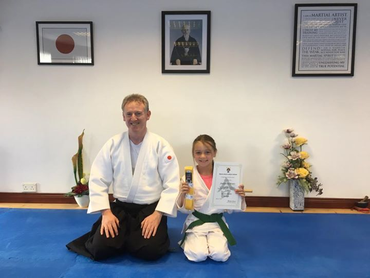 Mackenzie Brown getting he Aikido 9th kyu grading with Martin Acton sensei. At Martin Acton's Aikido Institute