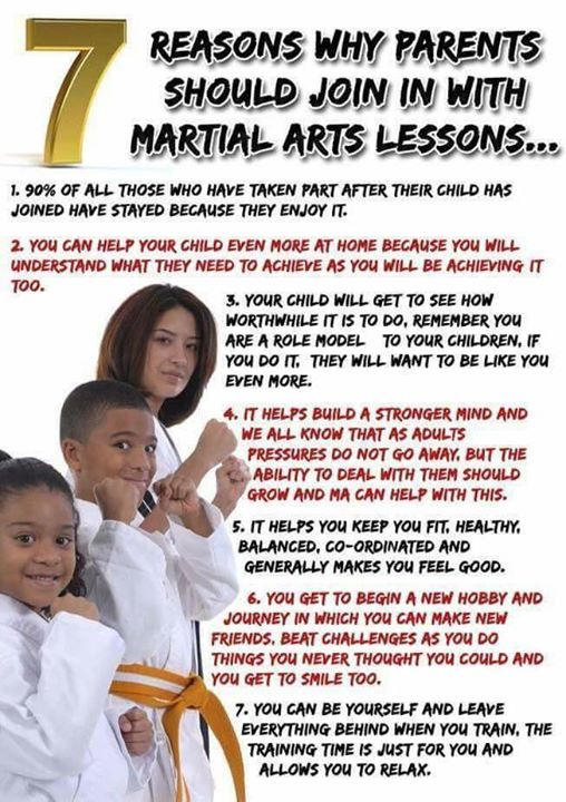 Poster showing 7 reasons why parents should practice martial arts with their child.