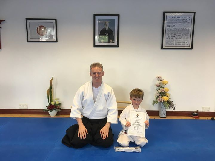 Charlie McKinley receiving his Aikido 11th certification with Martin Acton sensei at Martin Acton's Aikido Institute on the 19th /8/2017