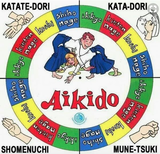 Poster showing list of Aikido techniques.