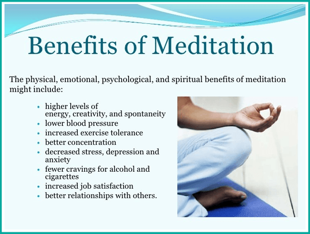 meditation. This is a poster of the benefits of meditation. Martin Acton's Aikido Institute