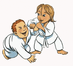 Cartoon image of girl and boy in white aikido robes