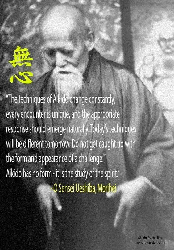 A photo of the Founder of Aikido talking about the importance of change.