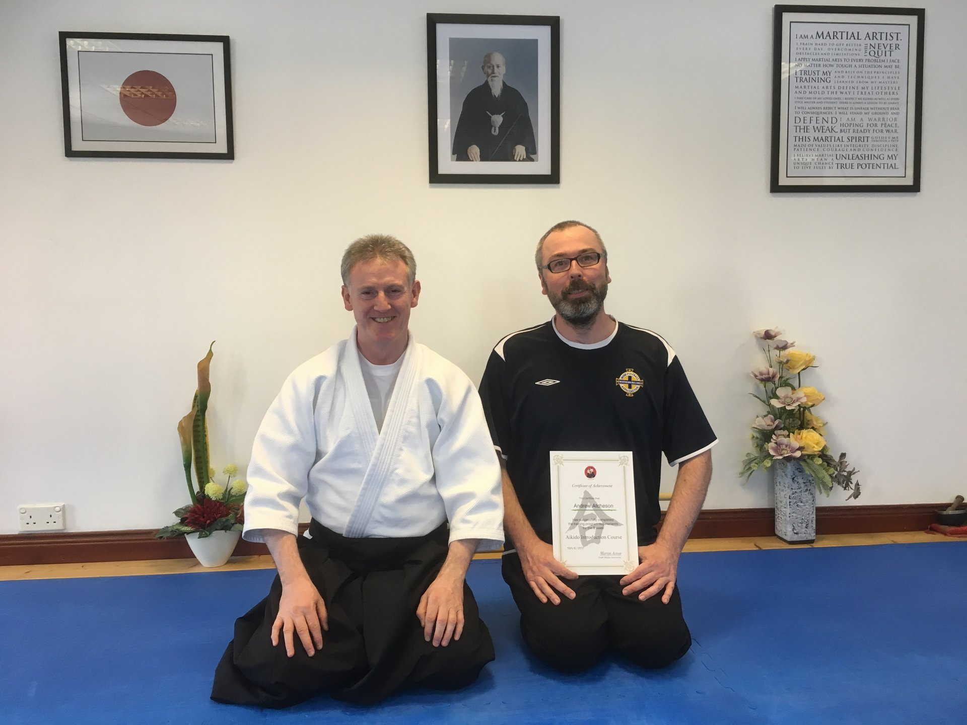 Andrew Atcheson receiving his Aikido 8-week Introduction certification with Martin Acton sensei 15.6.2017 at Martin Acton's Aikido Institute