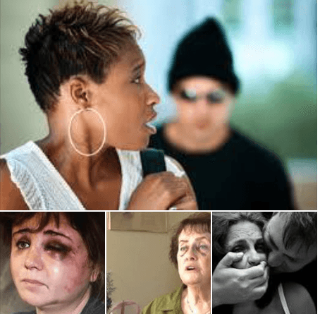 This shows a photo of a woman being stalked and three other photos show women who have been beaten up. Martin Acton's Aikido Institute