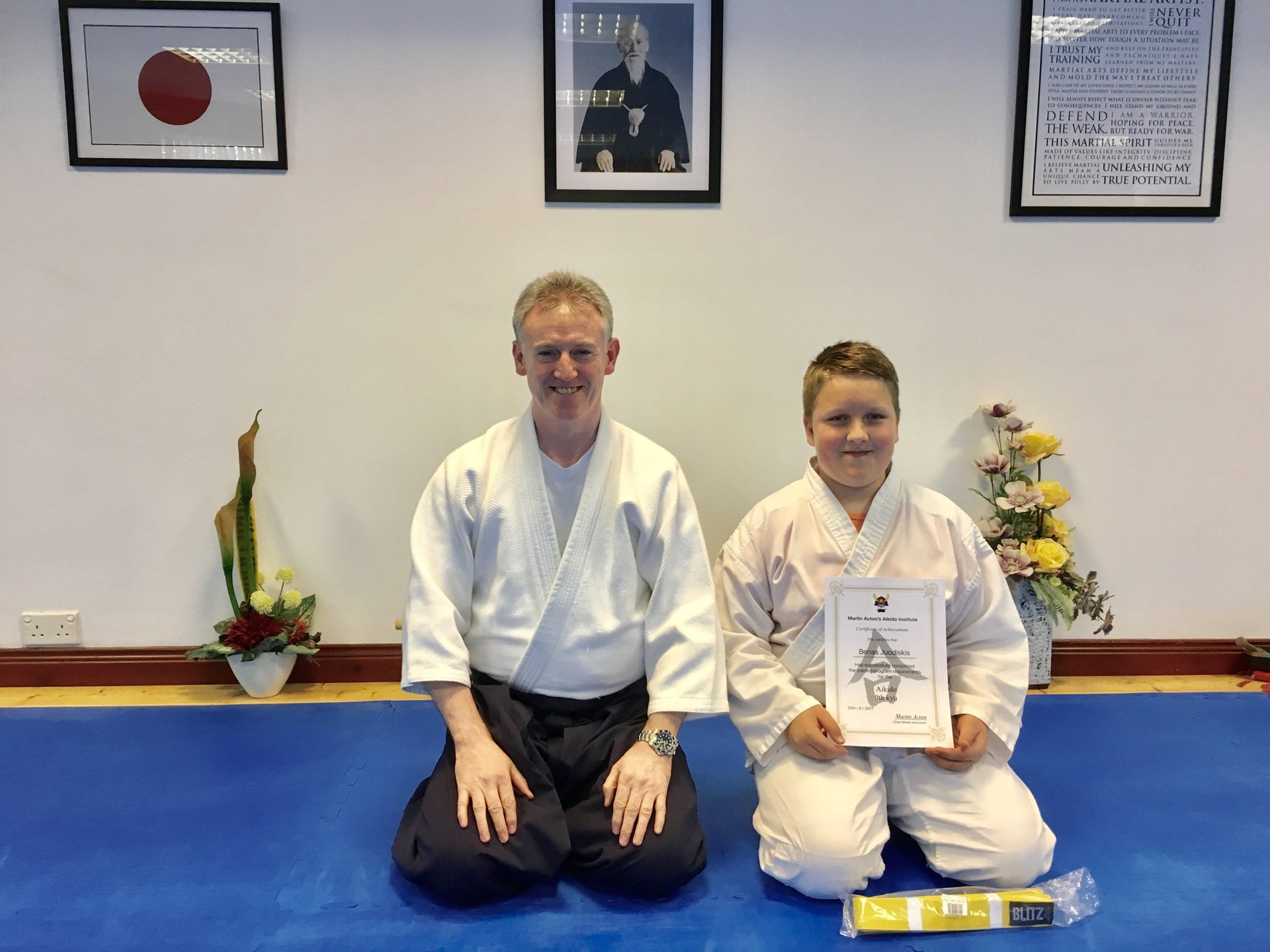 Aikido student  Benas Juodiskis receiving his 9th kyu Aikido certification with Martin Acton Sensei  on the  7th  October 2017 at martin Acton's Aikido Institute