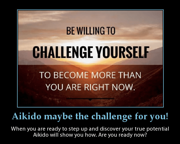 This is a poster inviting people to come and take the Aikido challenge to improve their lives. Martin Acton's Aikido Institute